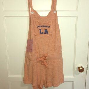 Peach towel fabric Los Angeles romper